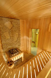 Wooden sauna cabin. Wooden seats for visitors to the sauna Stock Photography