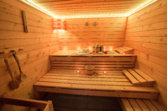 Wooden Sauna at the candlelight Royalty Free Stock Photos