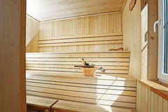 Wooden sauna interior Royalty Free Stock Photography