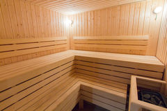 Wooden sauna Stock Photo