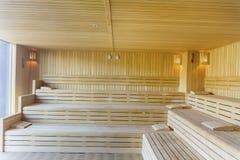 Wooden sauna interior Stock Image