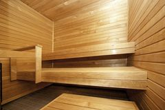 Wooden sauna Stock Photos