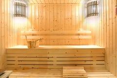 Wooden sauna room Royalty Free Stock Image