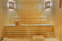 Wooden sauna room Royalty Free Stock Photo