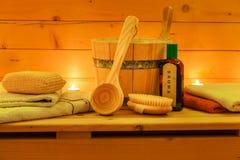 Wooden Sauna and Sauna Set Royalty Free Stock Image