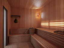 Wooden sauna with traditional sauna accessories Stock Photo