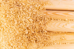 Wooden sawdust and logs Stock Photos