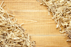 Wooden sawdust and shavings background Royalty Free Stock Photos