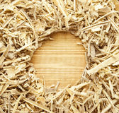 Wooden sawdust and shavings background Stock Photo