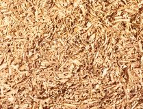 Wooden sawdust waste background texture. Wooden sawdust chips or fillings waste background texture, closeupu, copy space royalty free stock photography
