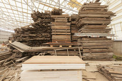 Wooden Sawmill Materials Warehouse construction. Stock Images