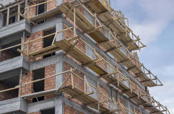 Wooden scaffolding on a building Stock Photo