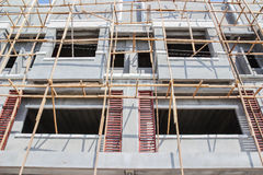 Wooden scaffolding for construction site. Thailand Royalty Free Stock Photography