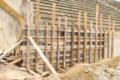 Wooden scaffolding for repairing a old stadium Royalty Free Stock Photo