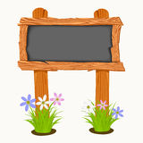 Wooden school board with flowers and butterflies. Stock Photo