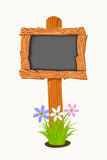 Wooden school board with flowers and butterflies. Royalty Free Stock Photo