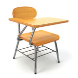 Wooden school desk and chair  on white. Stock Photo