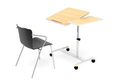 Wooden School, Home and Office Laptop Desk with Chair. On a white background Royalty Free Stock Photography
