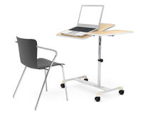 Wooden School, Home and Office Laptop Desk with Chair. On a white background Royalty Free Stock Images