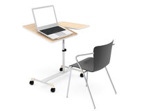 Wooden School, Home and Office Laptop Desk with Chair. On a white background Stock Photo