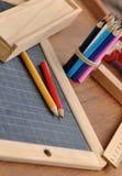 Wooden school supplies Stock Images