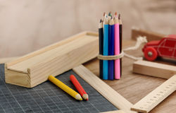 Wooden school supplies Royalty Free Stock Image