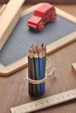 Wooden school supplies Stock Photography