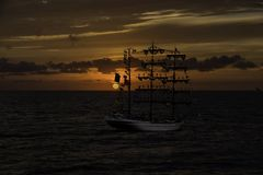 Wooden Schooner at Sunset. Three masted schooner on Chesapeake Bay Royalty Free Stock Photos
