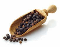 Wooden scoop with black peppers Royalty Free Stock Image