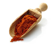 Wooden scoop with paprika powder Stock Photography