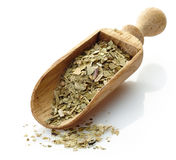 Wooden scoop with yerba mate tea Stock Photography