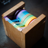A wooden scotch tape dispenser Royalty Free Stock Photography
