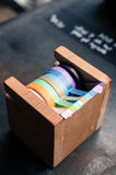 A wooden scotch tape dispenser Stock Photos