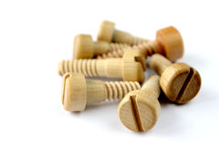 Wooden screw-bolts Stock Photos