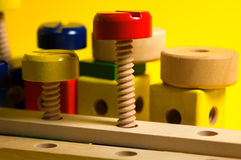 Wooden Screws stock photography