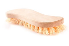 Wooden scrubbing brush. Isolated over white background Royalty Free Stock Image