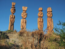 Wooden sculpture. Wood Sculptures in indigenous Mapuche style, the shores of Lake Nahuel Huapi - San Carlos de Bariloche - Patagonia - Argentina Stock Photo