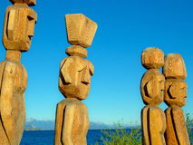 Wooden sculpture. Wood Sculptures in indigenous Mapuche style, the shores of Lake Nahuel Huapi - San Carlos de Bariloche - Patagonia - Argentina Royalty Free Stock Photo