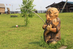 Wooden sculpture based on Pushkin's fairy tales. Royalty Free Stock Photos