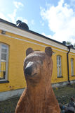 Wooden sculpture of a bear Royalty Free Stock Image