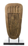 The wooden sculpture of the buddha's footprint Stock Images