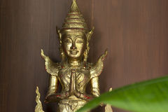 Wooden sculpture and cover by gold. Royalty Free Stock Photos