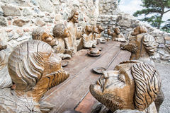 Wooden sculpture of Last supper in Nitra castle, Slovakia Royalty Free Stock Photography