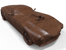 Wooden sculpture muscle car Royalty Free Stock Photos