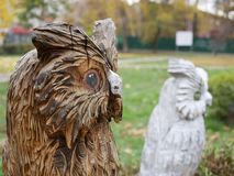 Wooden sculpture. OWL. royalty free stock photography