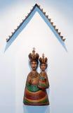 Wooden sculpture on Slanica Island, Slovakia stock image