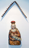 Wooden sculpture on Slanica Island, Slovakia royalty free stock photo