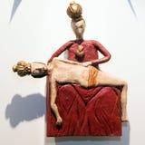 Wooden sculpture on Slanica Island, Slovakia stock photos
