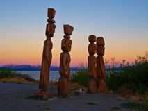 Wooden sculpture. Wood Sculptures in indigenous Mapuche style, the shores of Lake Nahuel Huapi - San Carlos de Bariloche - Patagonia - Argentina Royalty Free Stock Image