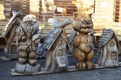 Wooden sculptures. stock photos